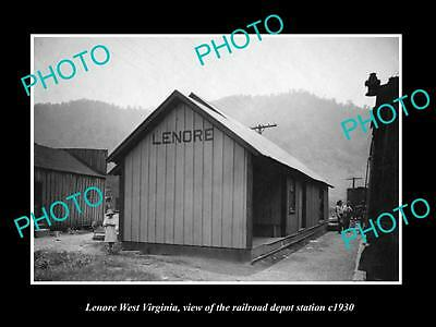 OLD LARGE HISTORIC PHOTO OF LENORE WEST VIRGINIA, THE RAILROAD STATION c1930