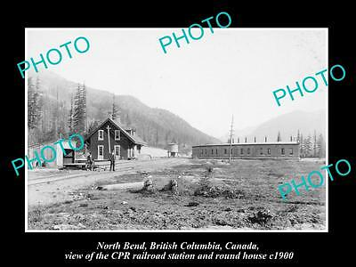 OLD LARGE HISTORIC PHOTO OF NORTH BEND BC CANADA, CPR RAILROAD STATION c1900 1