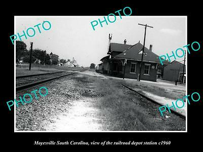 OLD LARGE HISTORIC PHOTO OF MAYESVILLE SOUTH CAROLINA, THE RAILROAD DEPOT c1960