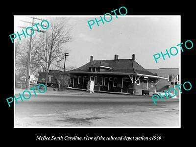 OLD LARGE HISTORIC PHOTO OF McBEE SOUTH CAROLINA, THE RAILROAD DEPOT c1960