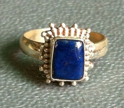Traditional Sterling Silver Asian Vintage Style Lapis Stone Ring Size L 1/2 Gift