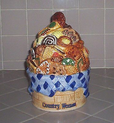 VINTAGE Country Women Ceramic Cookie Jar Canister by Cardinal