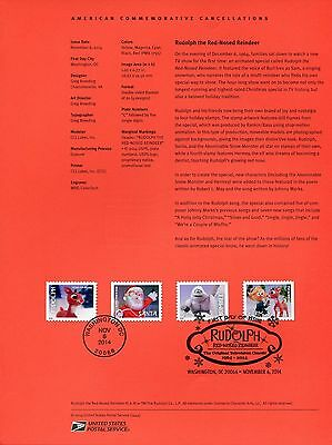 #4946-49 Rudolph The Reindeer Stamps USPS #1444 Souvenir Page