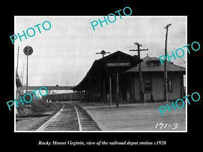 OLD LARGE HISTORIC PHOTO OF ROCKY MOUNT VIRGINIA, RAILROAD DEPOT STATION c1920