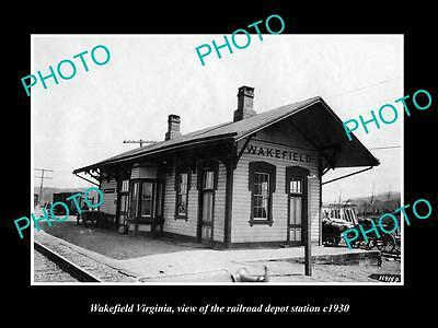Old Large Historic Photo Of Wakefield Virginia, The Railroad Depot Station 1930