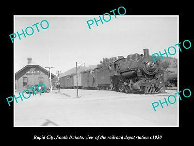 OLD LARGE HISTORIC PHOTO OF RAPID CITY SOUTH DAKOTA RAILROAD DEPOT STATION c1930