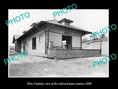 Old Large Historic Photo Of Wirtz Virginia, The Railroad Depot Station 1930
