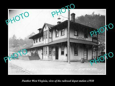 OLD LARGE HISTORIC PHOTO OF PANTHER WEST VIRGINIA, THE RAILROAD STATION c1930