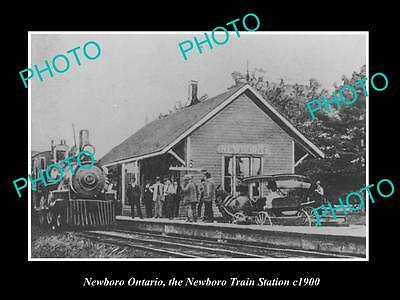 OLD HISTORIC PHOTO OF NEWBORO ONTARIO CANADA, VIEW OF THE RAILWAY STATION c1900