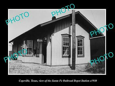 OLD LARGE HISTORIC PHOTO OF COPEVILLE TEXAS, THE RAILROAD DEPOT STATION c1930