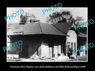 OLD LARGE HISTORIC PHOTO OF PETROLEUM WEST VIRGINIA, THE RAILROAD DEPOT c1900