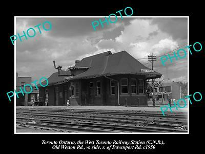 OLD HISTORIC PHOTO OF WEST TORONTO CANADA, VIEW OF THE RAILWAY STATION c1950