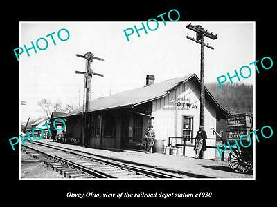OLD LARGE HISTORIC PHOTO OF OTWAY OHIO, THE RAILROAD DEPOT STATION c1930