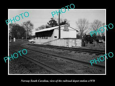 OLD LARGE HISTORIC PHOTO OF NORWAY SOUTH CAROLINA, THE RAILROAD DEPOT c1970