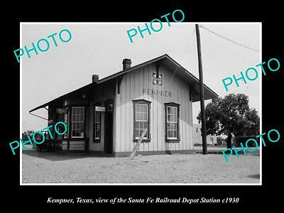 OLD LARGE HISTORIC PHOTO OF KEMPNER TEXAS, THE RAILROAD DEPOT STATION c1930