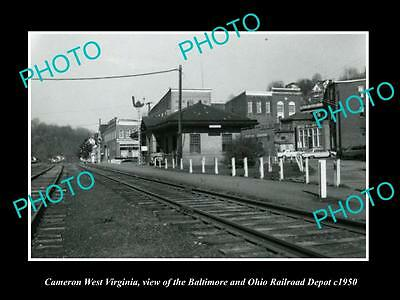 OLD LARGE HISTORIC PHOTO OF CAMERON WEST VIRGINIA, THE RAILROAD STATION c1950