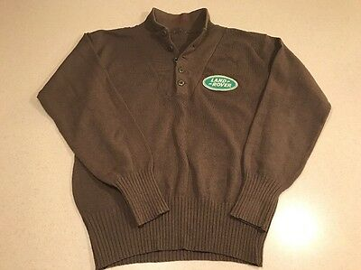 Wool Olive Military Green Land Rover Logo Badge Pullover Button Up Sweater Large