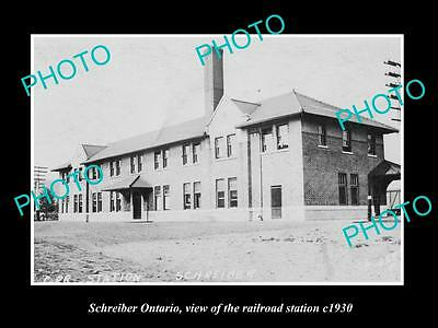 OLD HISTORIC PHOTO OF SCHREIBER ONTARIO CANADA, THE RAILWAY STATION c1930