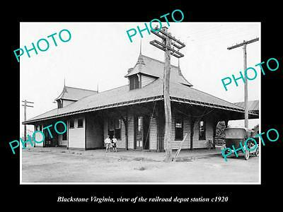 OLD LARGE HISTORIC PHOTO OF BLACKSTONE VIRGINIA, RAILROAD DEPOT STATION c1920 1