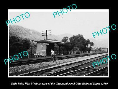 Old Large Historic Photo Of Belle Point West Virginia, The Railroad Station 1930