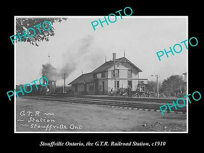 OLD HISTORIC PHOTO OF STOUFFVILLE ONTARIO CANADA, THE GTR RAILWAY STATION c1910