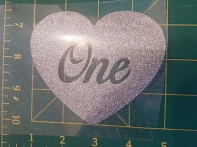 DIY 'one' silver glitter iron on transfer - free postage