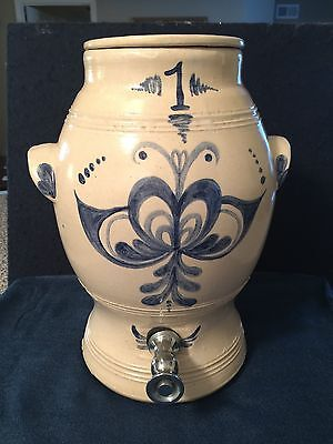 Vintage Stoneware Dispenser with Spigot/Tap and Lid~Blue Butterfly Design~1 Gal