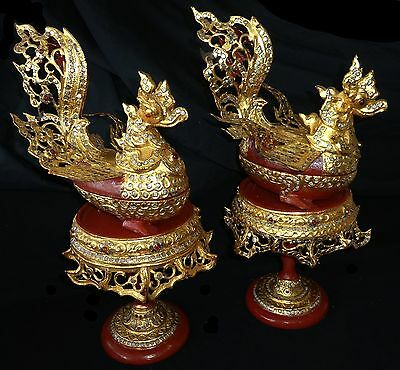 1930s Burmese Lacquer & Gold Gilt Elaborate Bird Boxes on Stands (Bla)