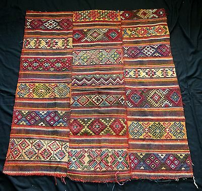19/20C Central Burma Bumthang Three Panel Wraps Blanket #153e (Eic)