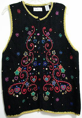 Westbound L Black Gold Crewl Embroidery Holiday Ugly Christmas Sweatervest Bling