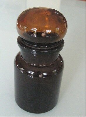 "Vintage Brown Belgium Glass Canister Apothercary Jar, 5.5"" High, Domed Lid"