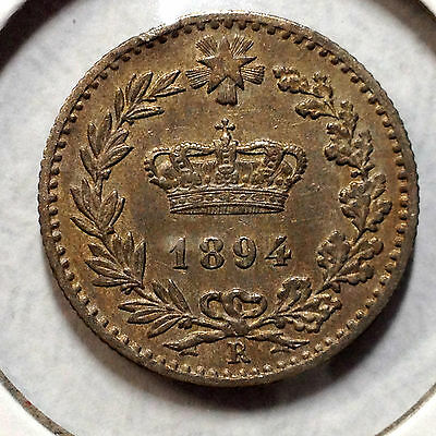 Italy 1894-R 20 Centesimi  High Grade Coin Low Mintage