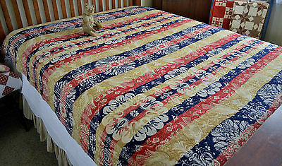 Antique 19th century Jacquard Bird of Paradise Coverlet