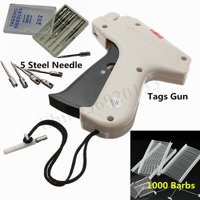 Clothes Garment Price Label Tagging Tag Gun Machine+1000 Barbs+5 Steel Needles