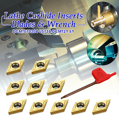 10pcs/box Gold DCMT070204 US735 DCMT21.51 Carbide Insert For Lathe Turning Tool