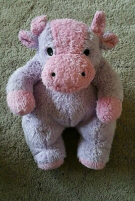 "TY PILLOW PALS MOOCOW BABY Cow RATTLE PINK PURPLE 12"" Plush Stuffed TOY"