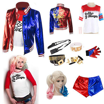 Harley Quinn T-shirt Coat Hair Daddy's Lil Monster Suicide Squad Costume Cosplay