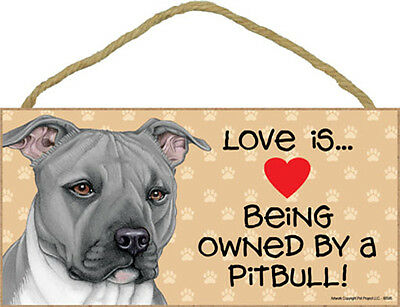 """Love is Being Owned by Pit Bull Pitbull Sign Plaque dog 10x5"""" pet gift Gray"""