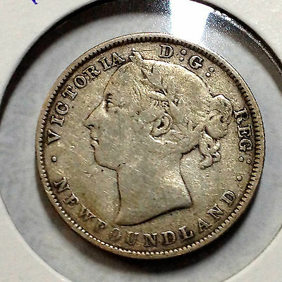 1890 Newfoundland Canada Sterling Silver 20 Cents Better Grade