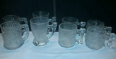 Set of 8 McDonald's The Flintstones Mugs Textured Frosted Glass Coffee Cups 1993