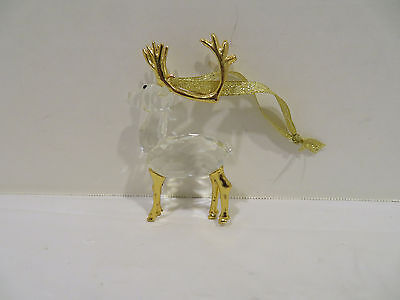 Clear Crystal Reindeer Christmas Tree Ornament with Gold Antlers & Legs