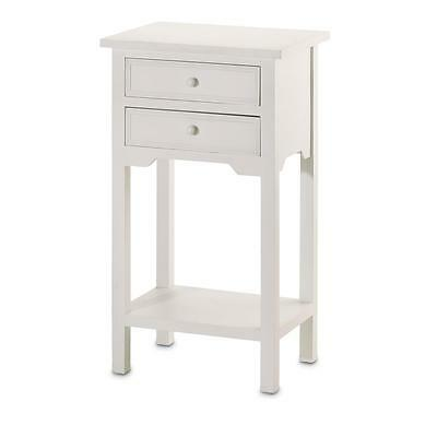 Pair of (2) White Wood Nightside Bed SideTable Accent Storage Cabinet Sofa Den