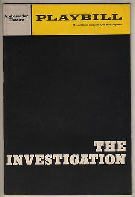 """The Investigation""   Broadway  Playbill 1966  OPENING NIGHT  Peter Weiss"