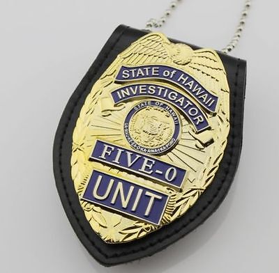 Hawaii Five-0 Badge Hawaii 5 o Badge & Chain Belt Leather Badge Holder