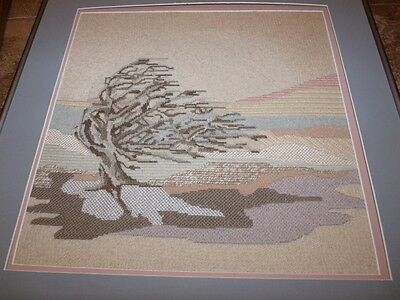 """Lovely LONE TREE IN WIND Completed Needlepoint!  14"""" x 14"""""""