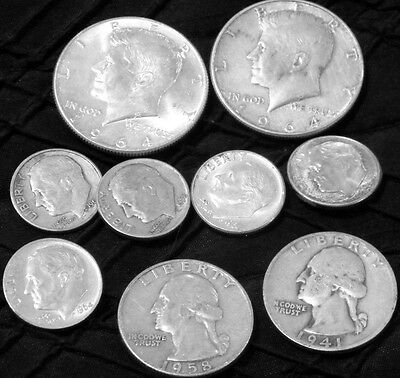 2 silver Kennedy halves, two silver, quarters,  5 silver dimes $2.00 face value