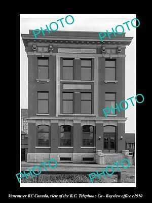 OLD LARGE HISTORIC PHOTO OF VANCOUVER CANADA, BC TELEPHONE OFFICE, BAYVIEW c1910