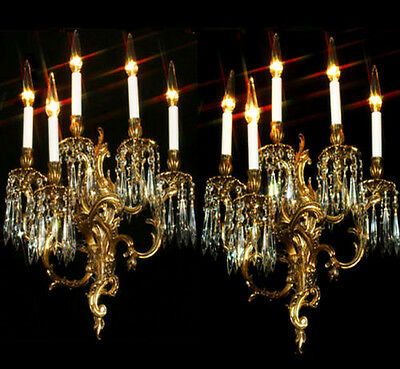 PAIR 5light sconces Museum CRYSTAL prism Rococo Vintage Gilt Bronze Brass FRENCH