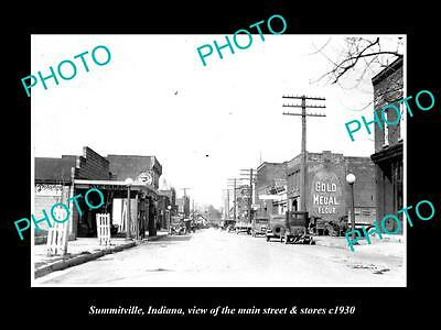 OLD LARGE HISTORIC PHOTO OF SUMMITVILLE INDIANA, THE MAIN STREET & STORES c1930