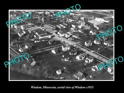 OLD LARGE HISTORIC PHOTO OF WINDOM MINNESOTA, AERIAL VIEW OF THE TOWN c1935